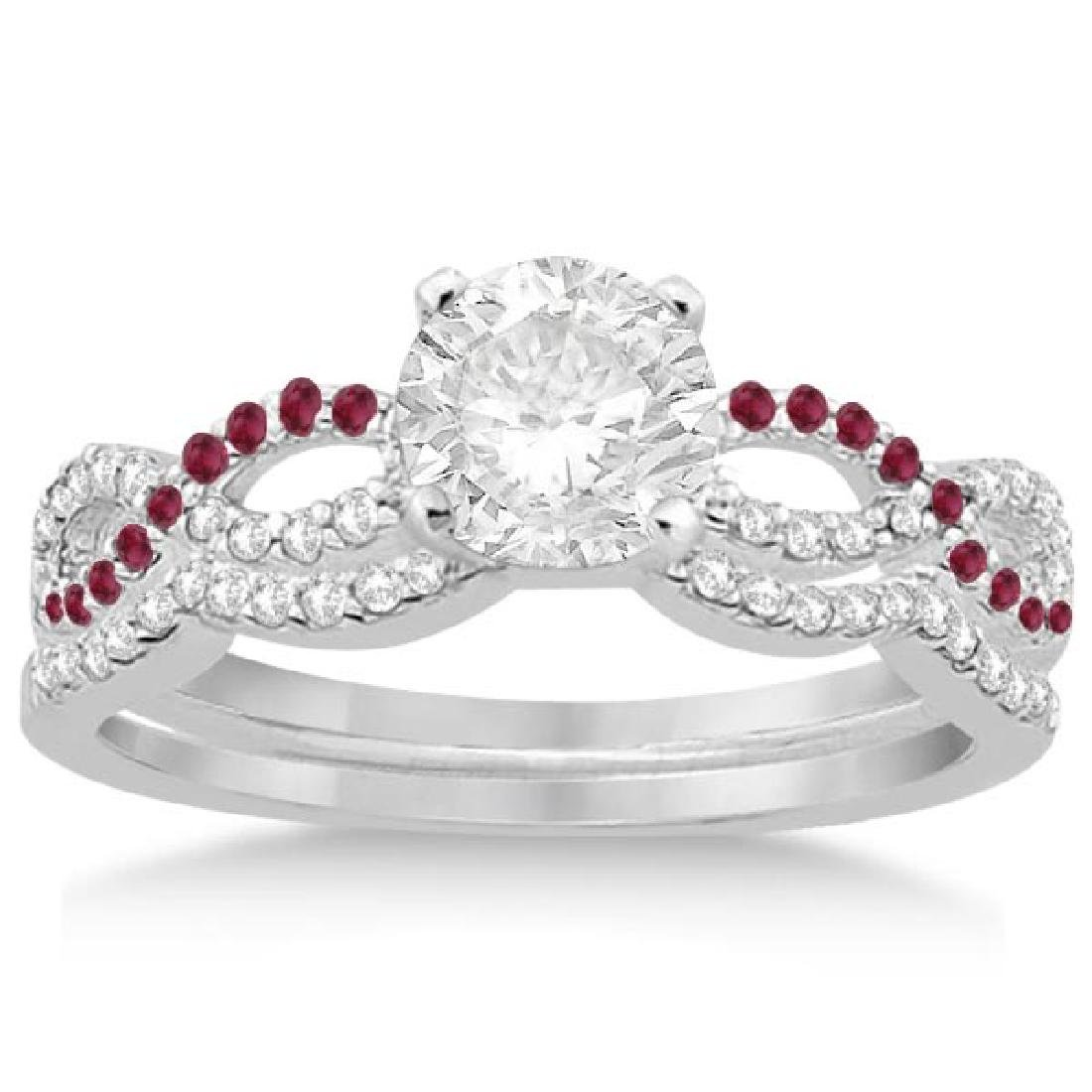 Infinity Diamond and Ruby Engagement Ring Set 14K White