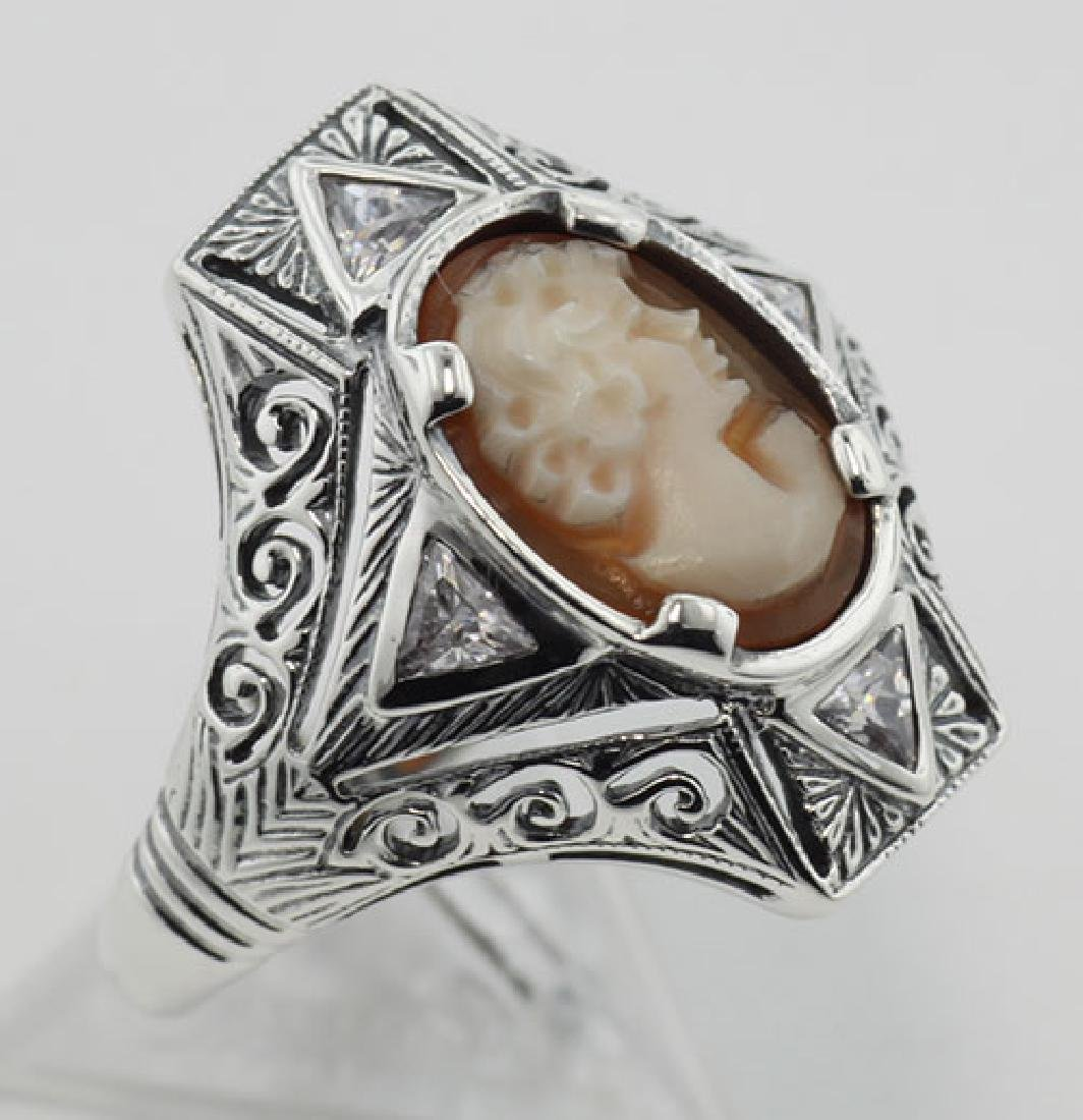 Hand Carved Italian Shell Cameo Filigree Ring with CZs
