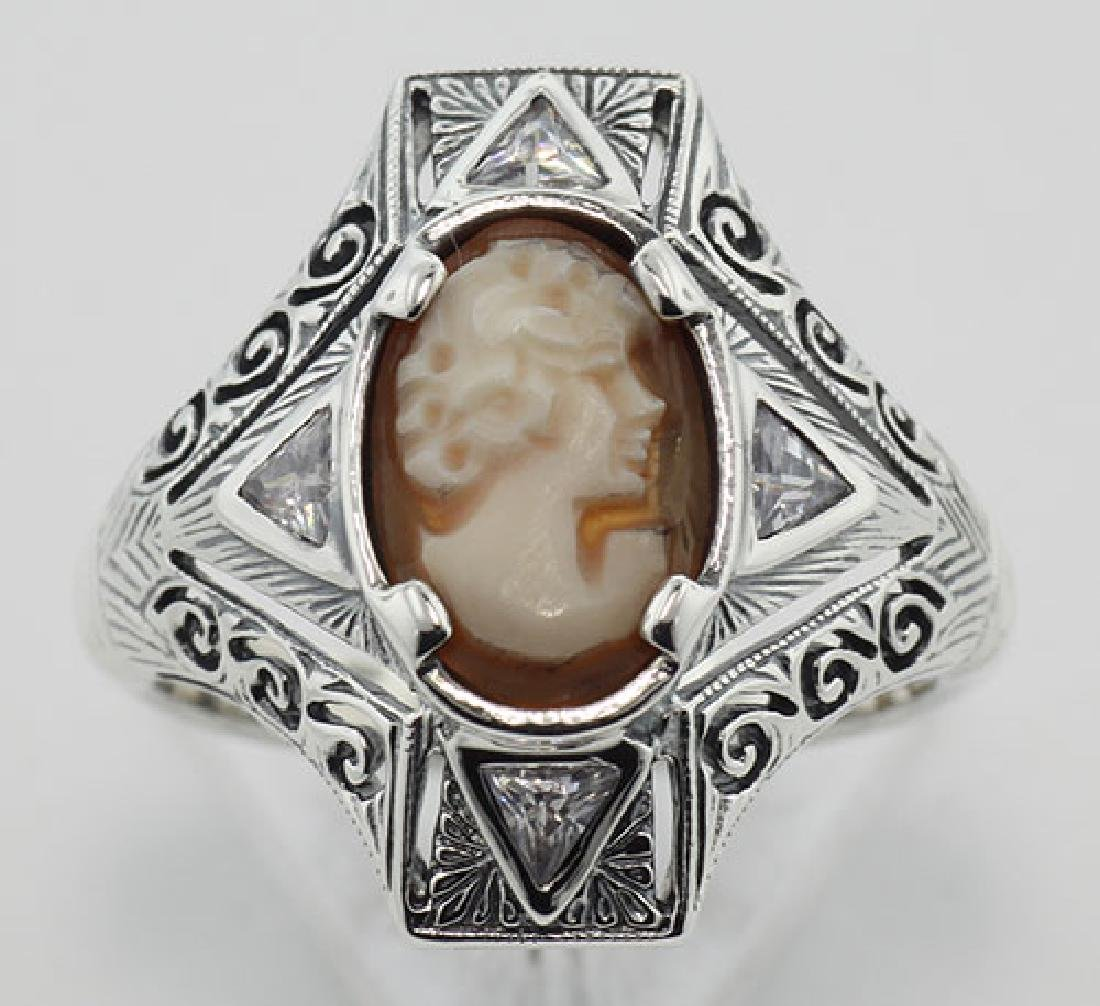 Hand Carved Italian Shell Cameo Filigree Ring with CZs - 2