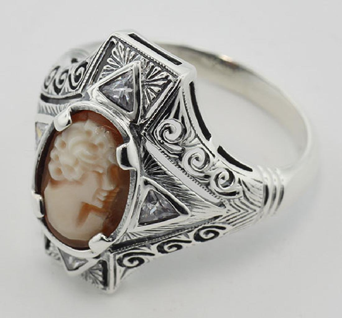 Hand Carved Italian Shell Cameo Filigree Ring with CZs - 3