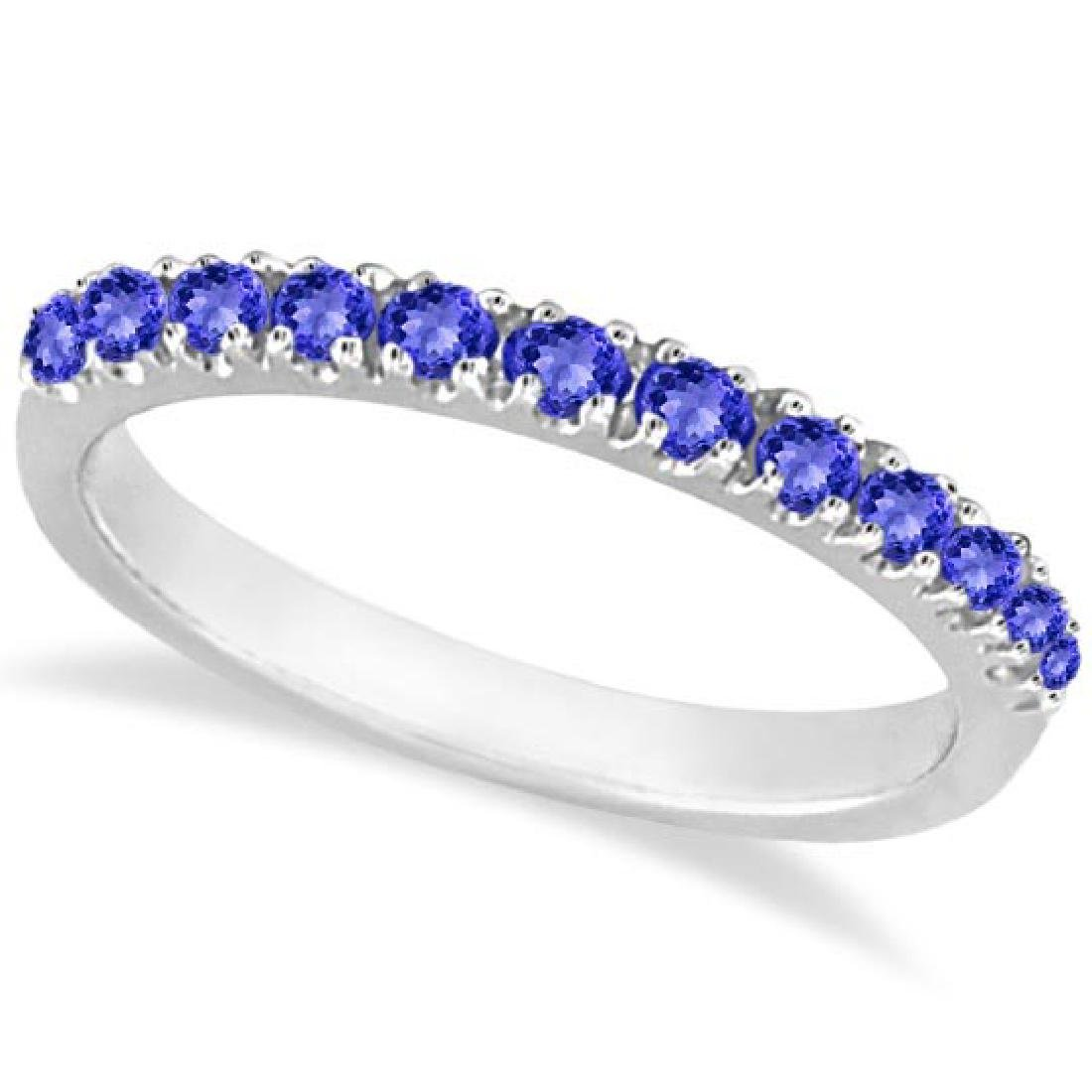 Tanzanite Stackable Band Anniversary Ring Guard 14k Whi