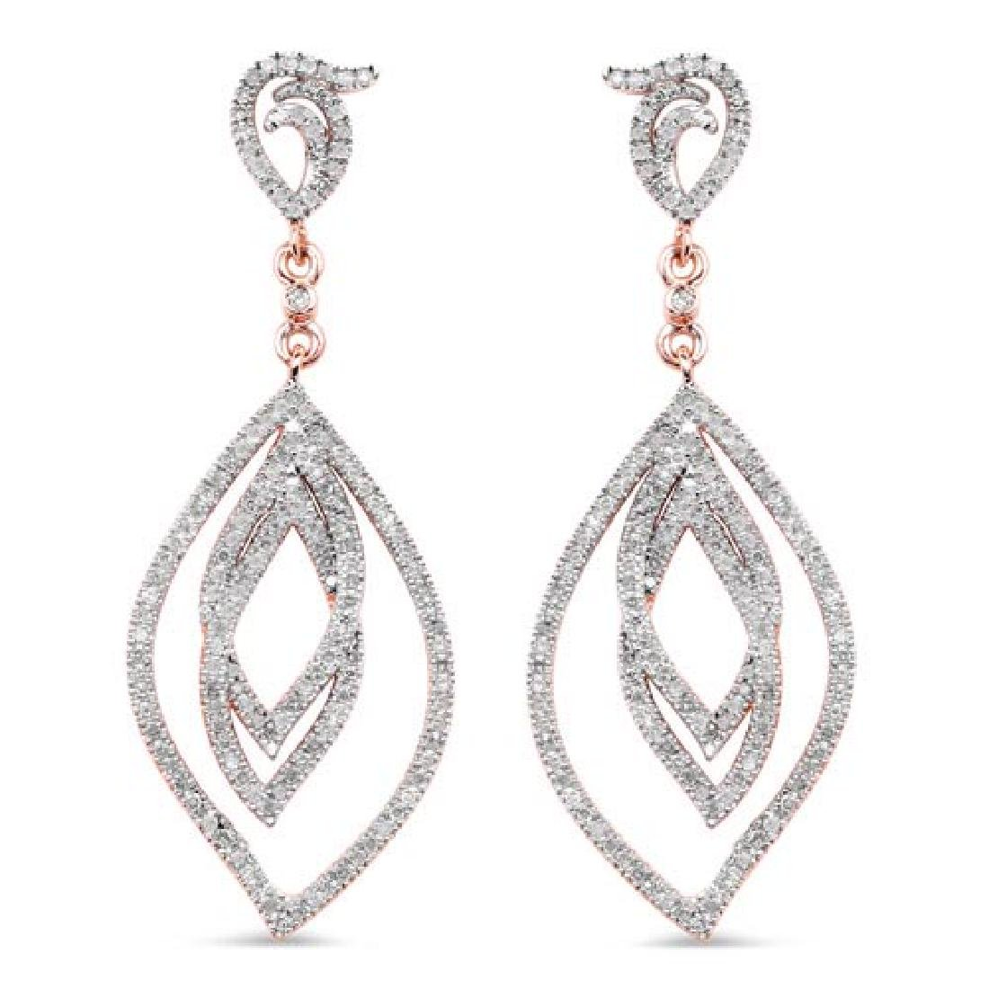 14K Rose Gold Plated 0.92 Carat Genuine White Diamond .