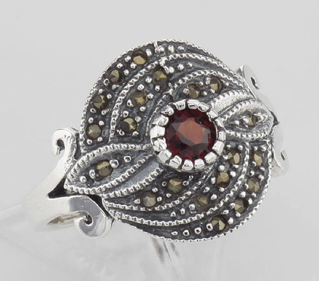 Antique Style Round Red Garnet and Marcasite Ring - Ste