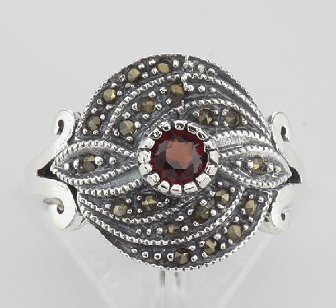 Antique Style Round Red Garnet and Marcasite Ring - Ste - 2