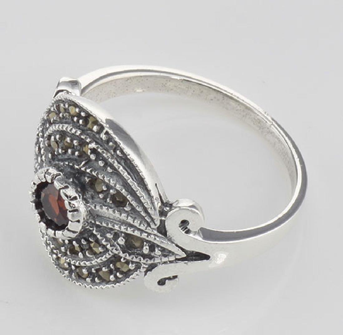 Antique Style Round Red Garnet and Marcasite Ring - Ste - 3
