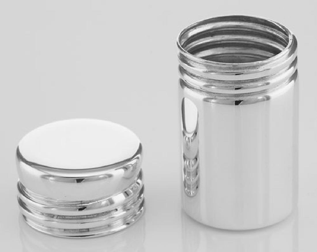 Pillbox Sterling Silver Cylinder Pill Box Made in USA - 2