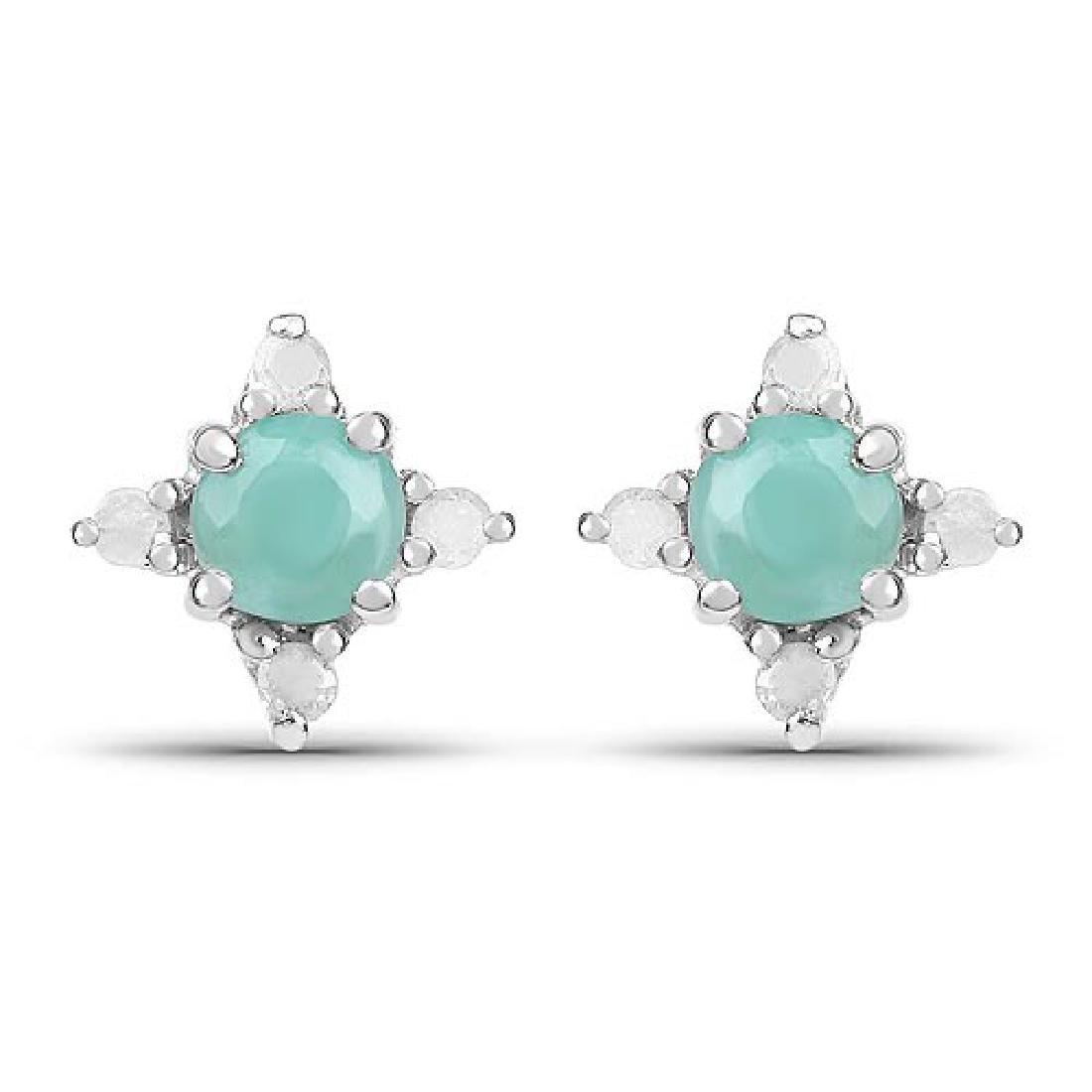 0.58 Carat Genuine Emerald and White Diamond .925 Sterl