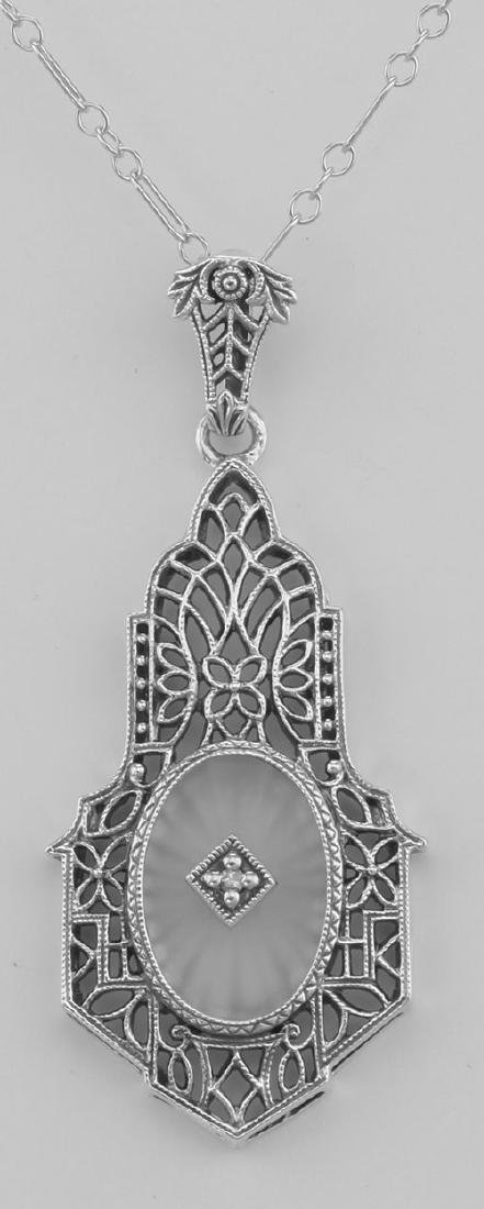 Sunray Camphor Glass Filigree Pendant w/ Diamond - Ster