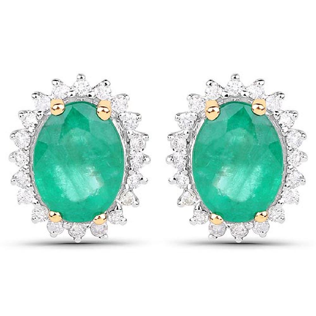 2.75 Carat Genuine Zambian Emerald and White Diamond 14