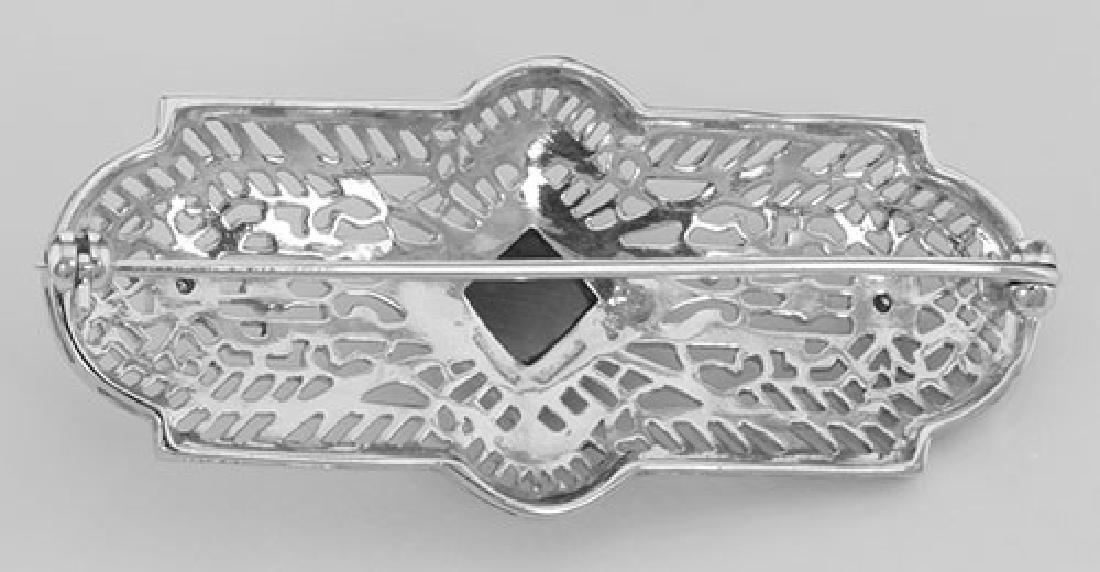 Art Deco Style Black Onyx and Diamond Pin / Brooch - St - 2