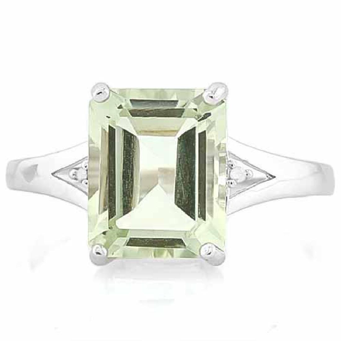2 1/2 CARAT GREEN AMETHYST & DIAMOND 925 STERLING SILVE
