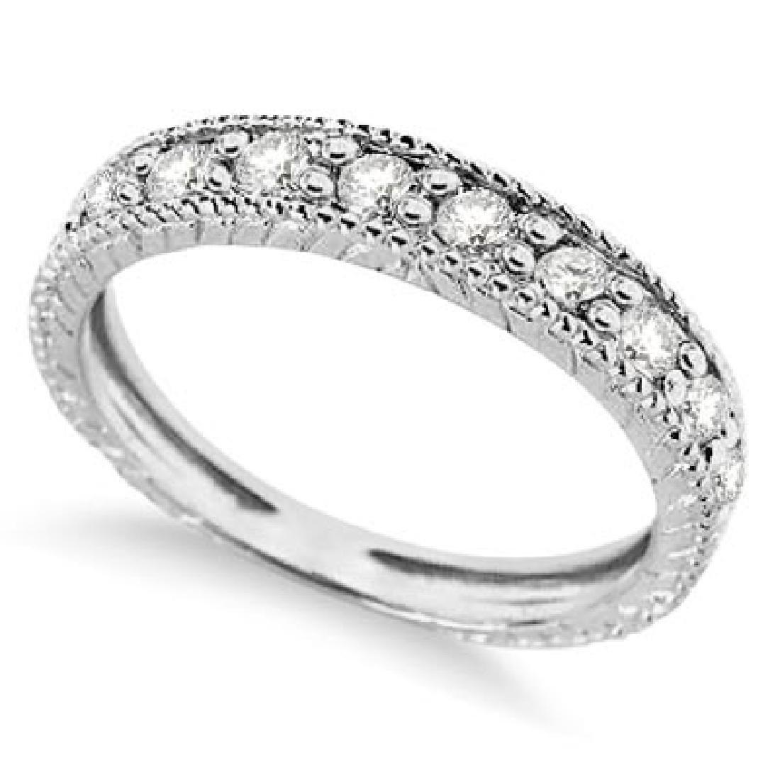 Vintage Style Diamond Wedding Ring Band Half-Way 14k Wh
