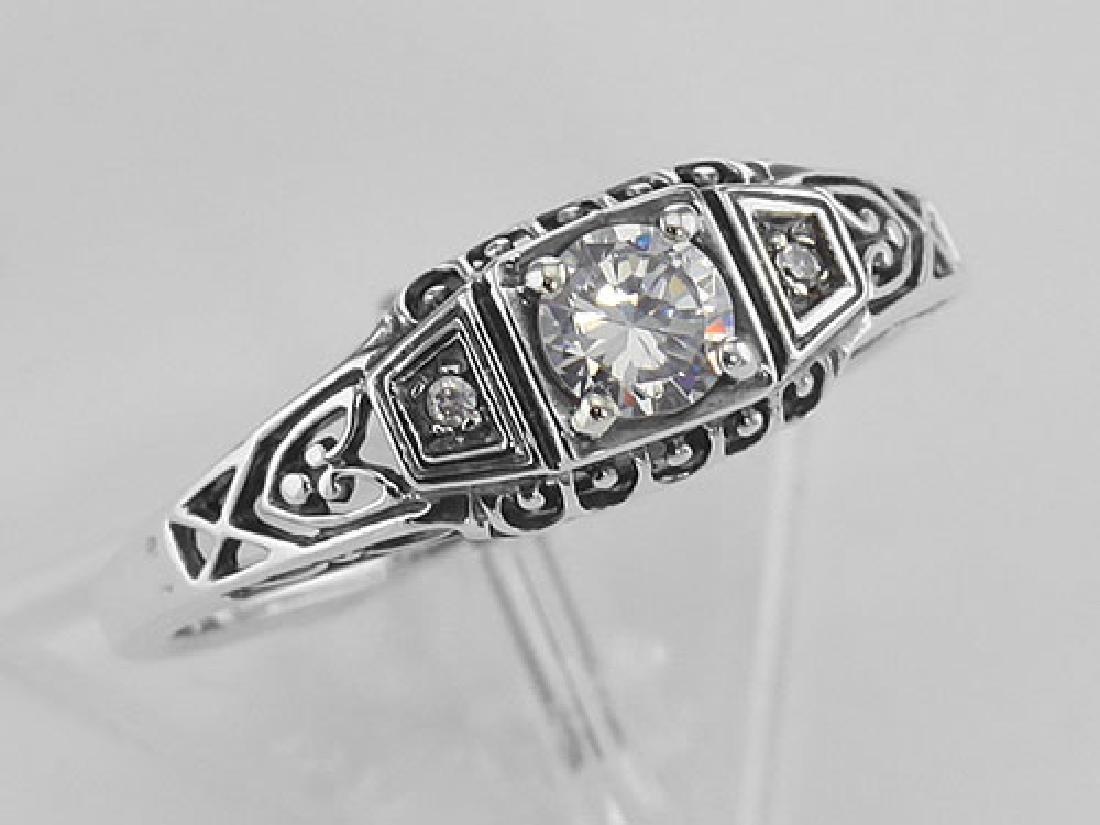 Sterling Silver CZ Filigree Ring w/ 2 Diamonds