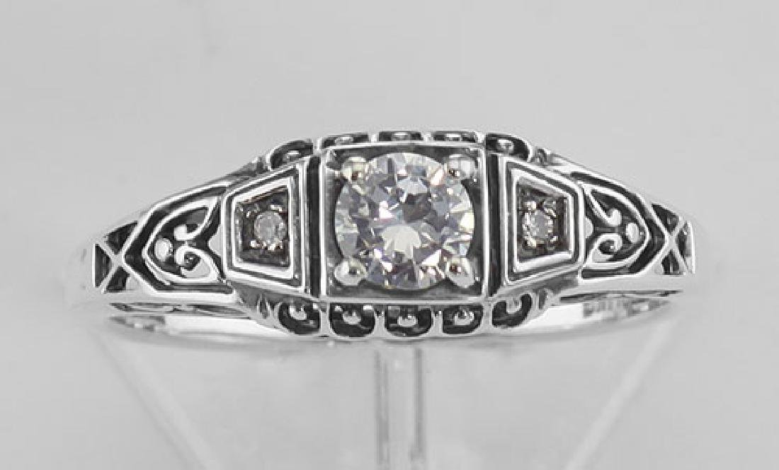 Sterling Silver CZ Filigree Ring w/ 2 Diamonds - 2