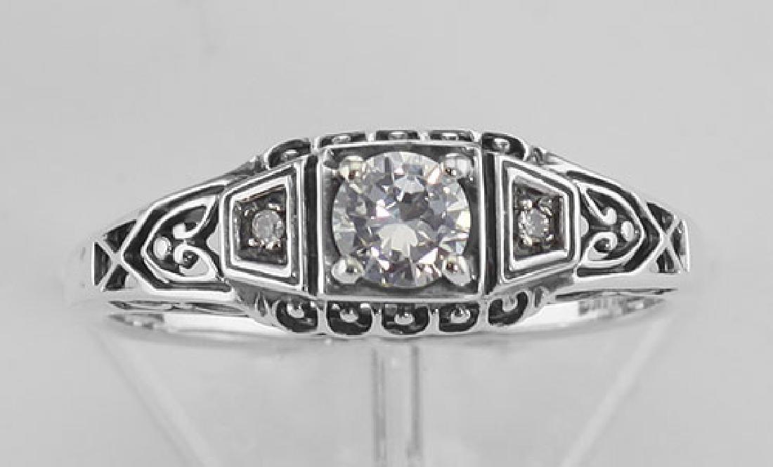 Sterling Silver CZ Filigree Ring w/ 2 Diamonds - 2
