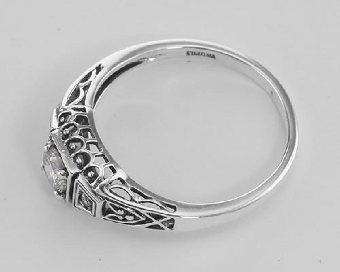 Sterling Silver CZ Filigree Ring w/ 2 Diamonds - 3
