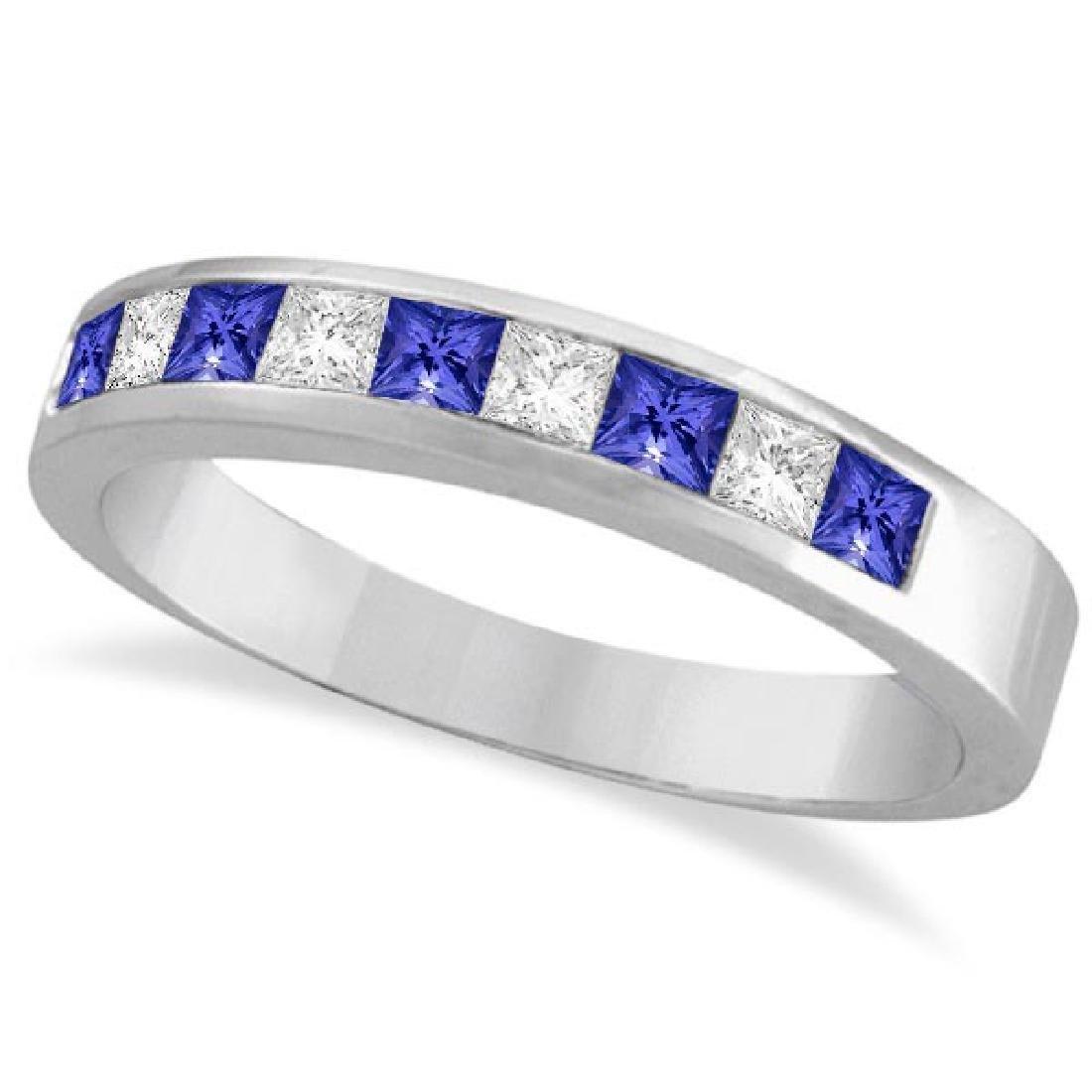 Princess-Cut Tanzanite and White Diamond Ring 14k White
