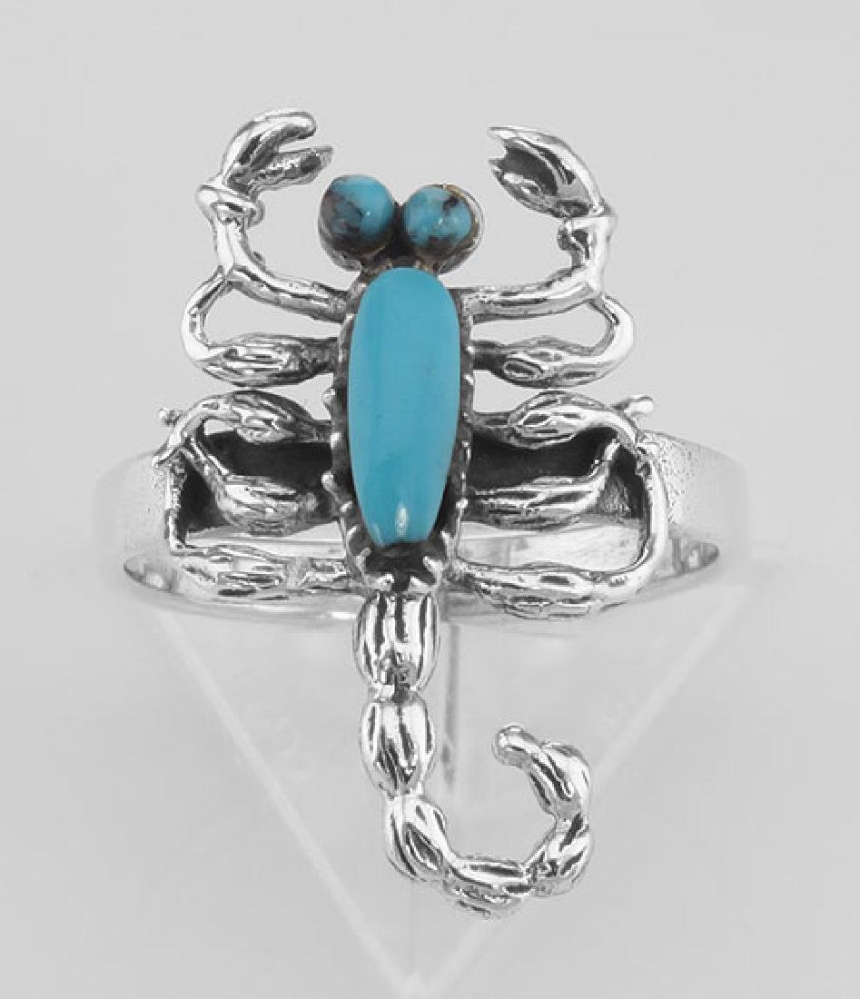Scorpion Ring - Turquoise - Scorpio - Sterling Silver - 2