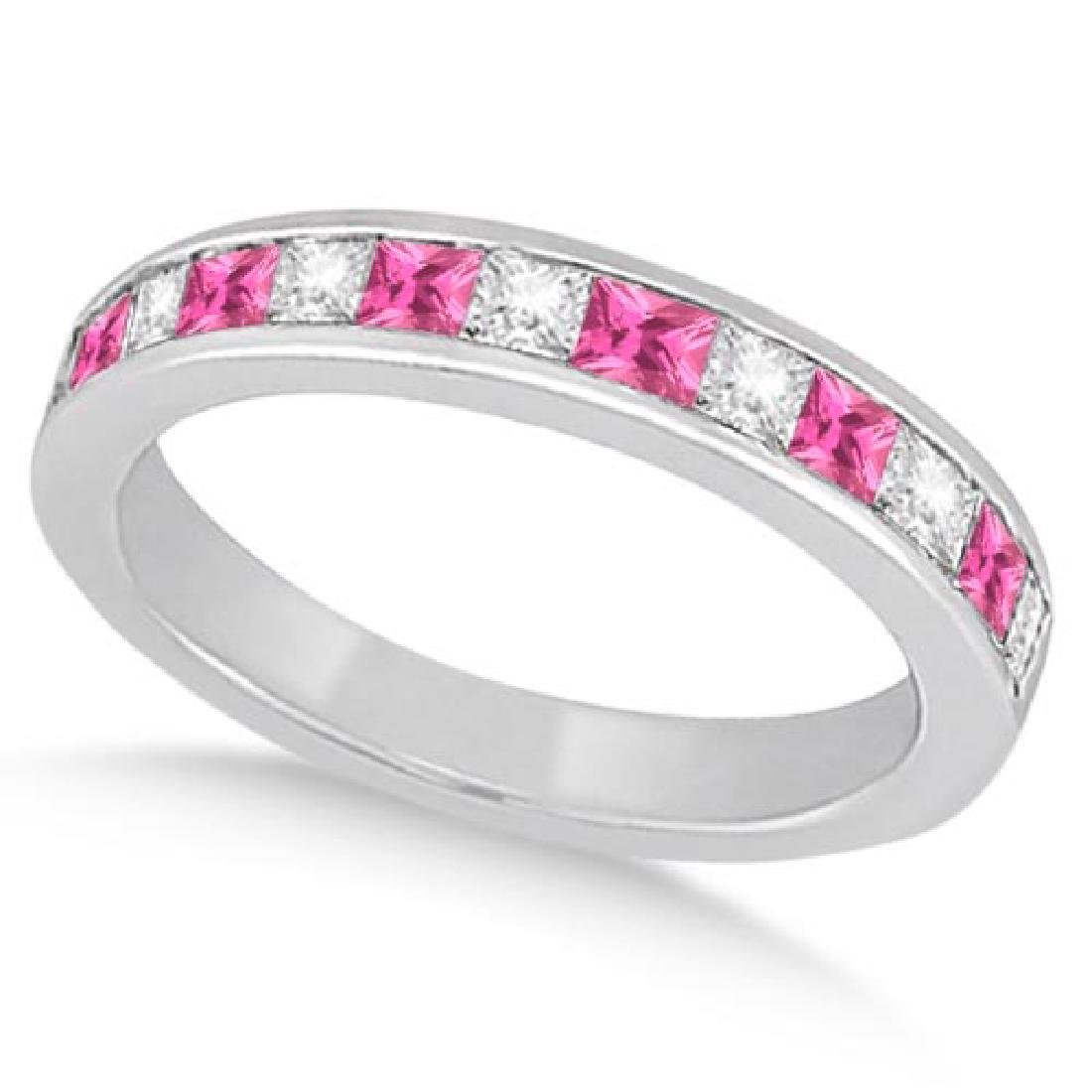 Channel Pink Sapphire and Diamond Wedding Ring 14k Whit