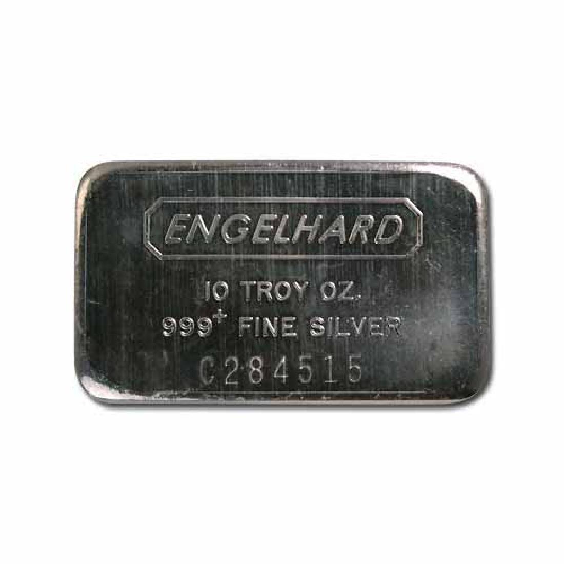 Engelhard Silver Bar 10 oz Bar - Wide Struck Logo Back
