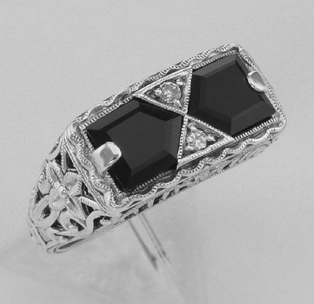 Art Deco Style Black Onyx Filigree Ring with 2 diamonds