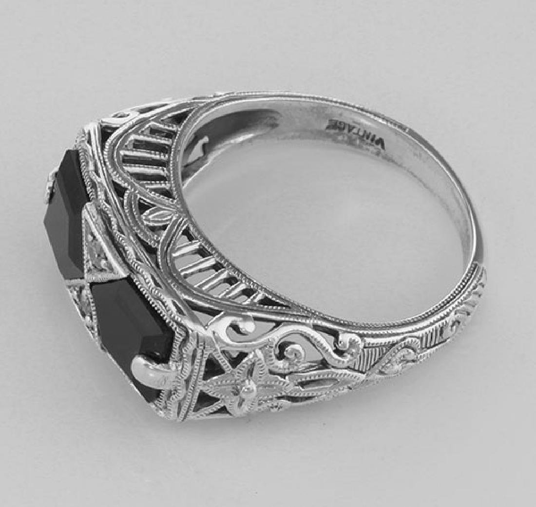 Art Deco Style Black Onyx Filigree Ring with 2 diamonds - 3