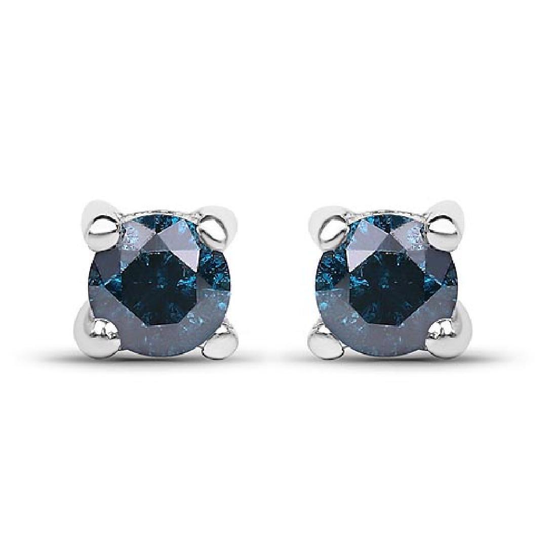 0.21 Carat Genuine Blue Diamond .925 Sterling Silver Ea