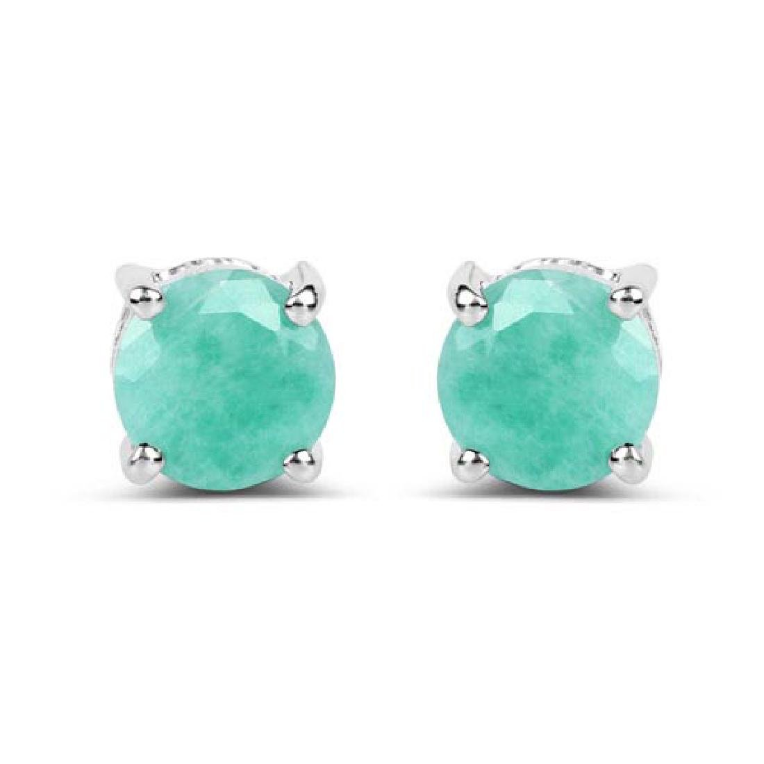 1.50 Carat Genuine Emerald .925 Sterling Silver Earring