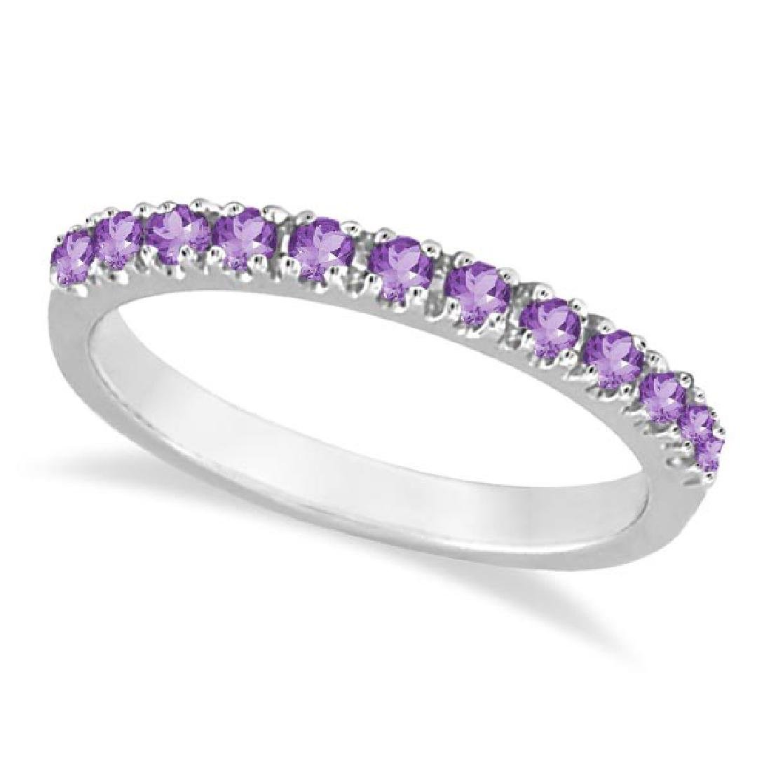 Amethyst Stackable Band Ring Guard in 14k White Gold (0