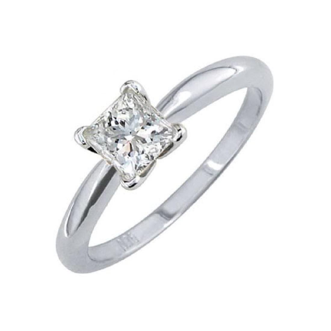 Certified 0.9 CTW Princess Diamond Solitaire 14k Ring F