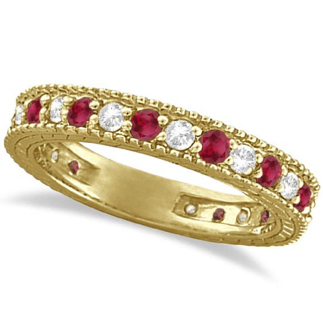 Diamond and Ruby Anniversary Ring Band 14k Yellow Gold