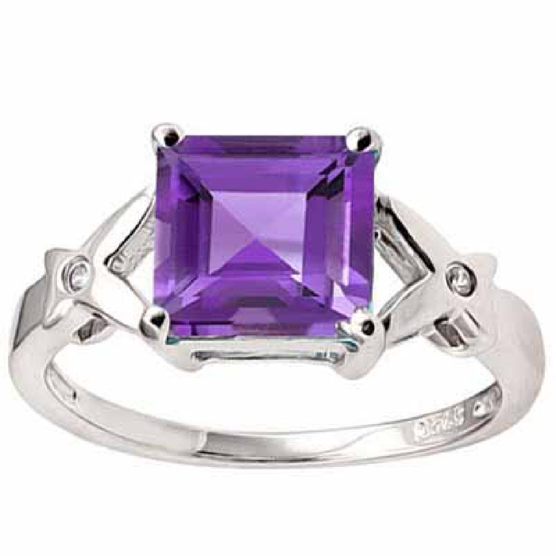 2 3/5 CARAT AMETHYST & CREATED WHITE SAPPHIRE 925 STERL