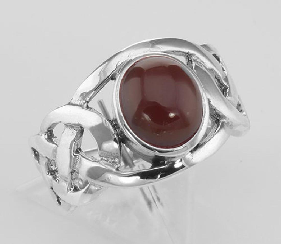Unique Cab Cut Red Carnelian Celtic Knot Ring - Sterlin