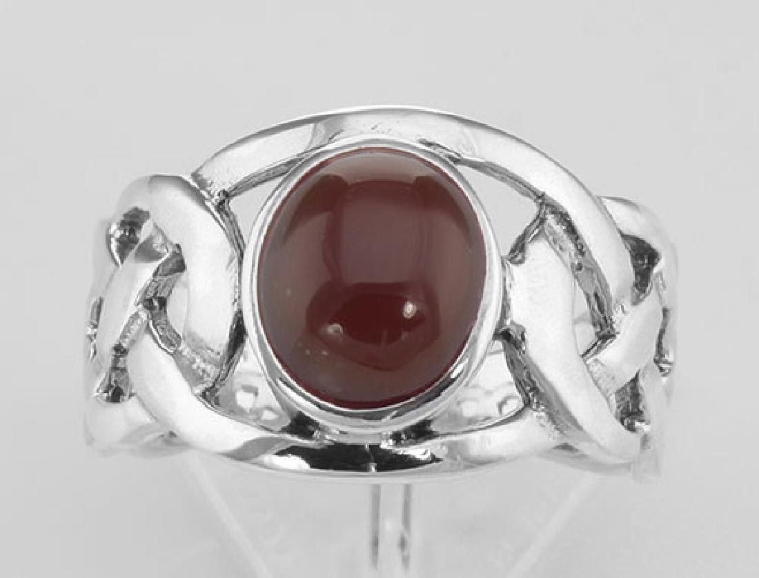 Unique Cab Cut Red Carnelian Celtic Knot Ring - Sterlin - 2