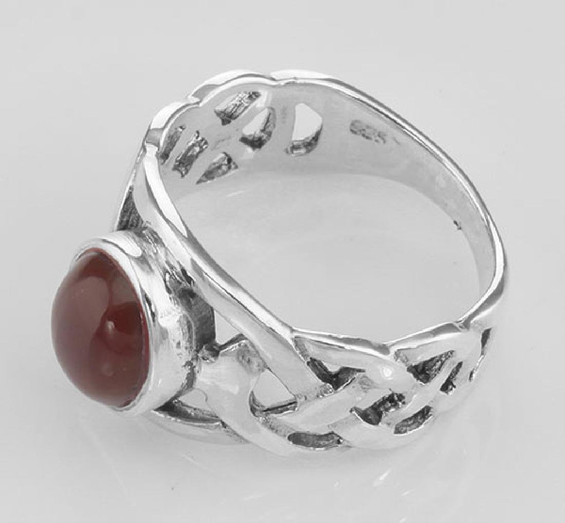 Unique Cab Cut Red Carnelian Celtic Knot Ring - Sterlin - 3
