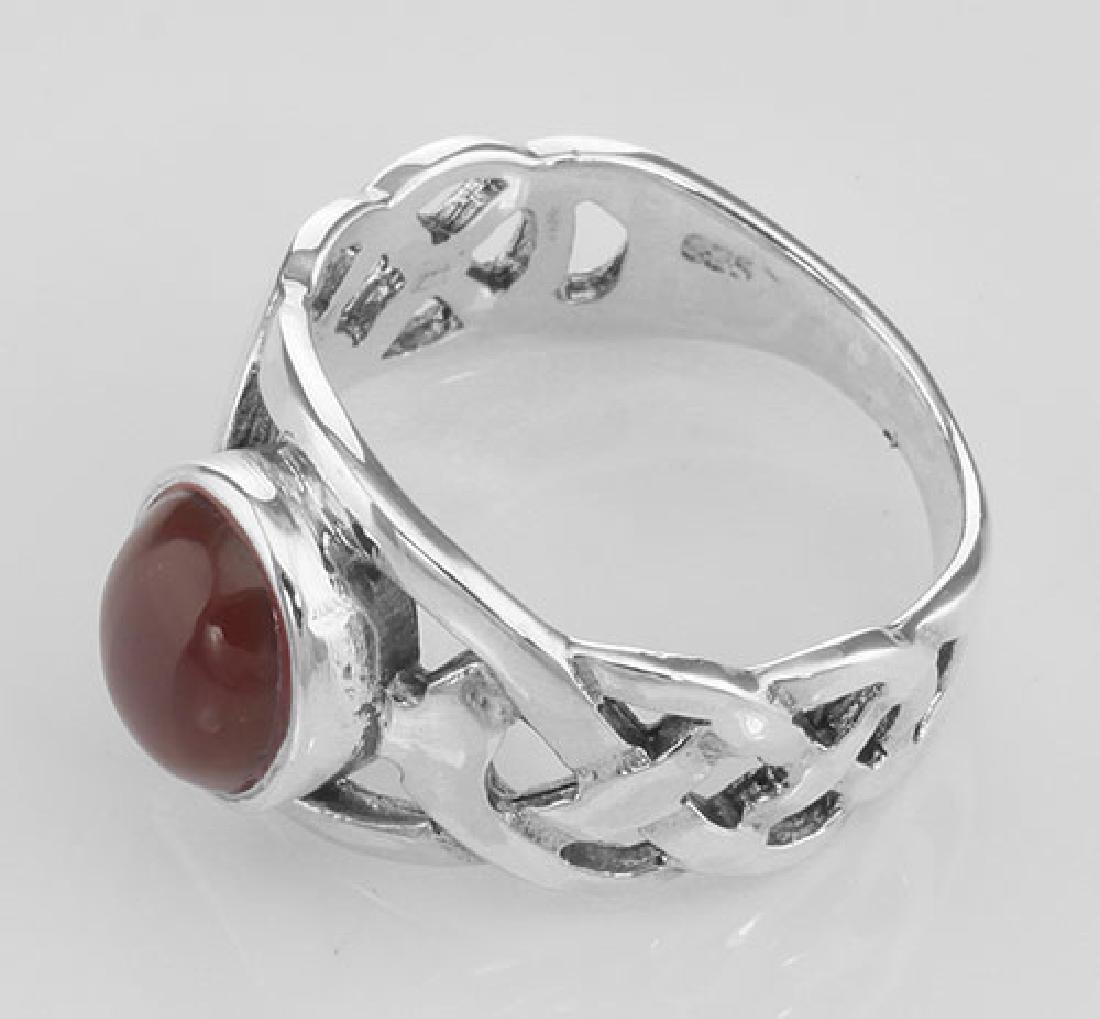 Unique Cab Cut Red Carnelian Celtic Knot Ring - Sterlin - 3