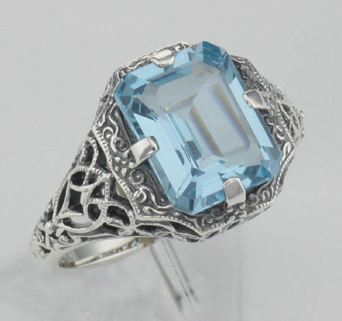 Antique Style 2 1/2 Carat Blue Topaz Filigree Ring - St