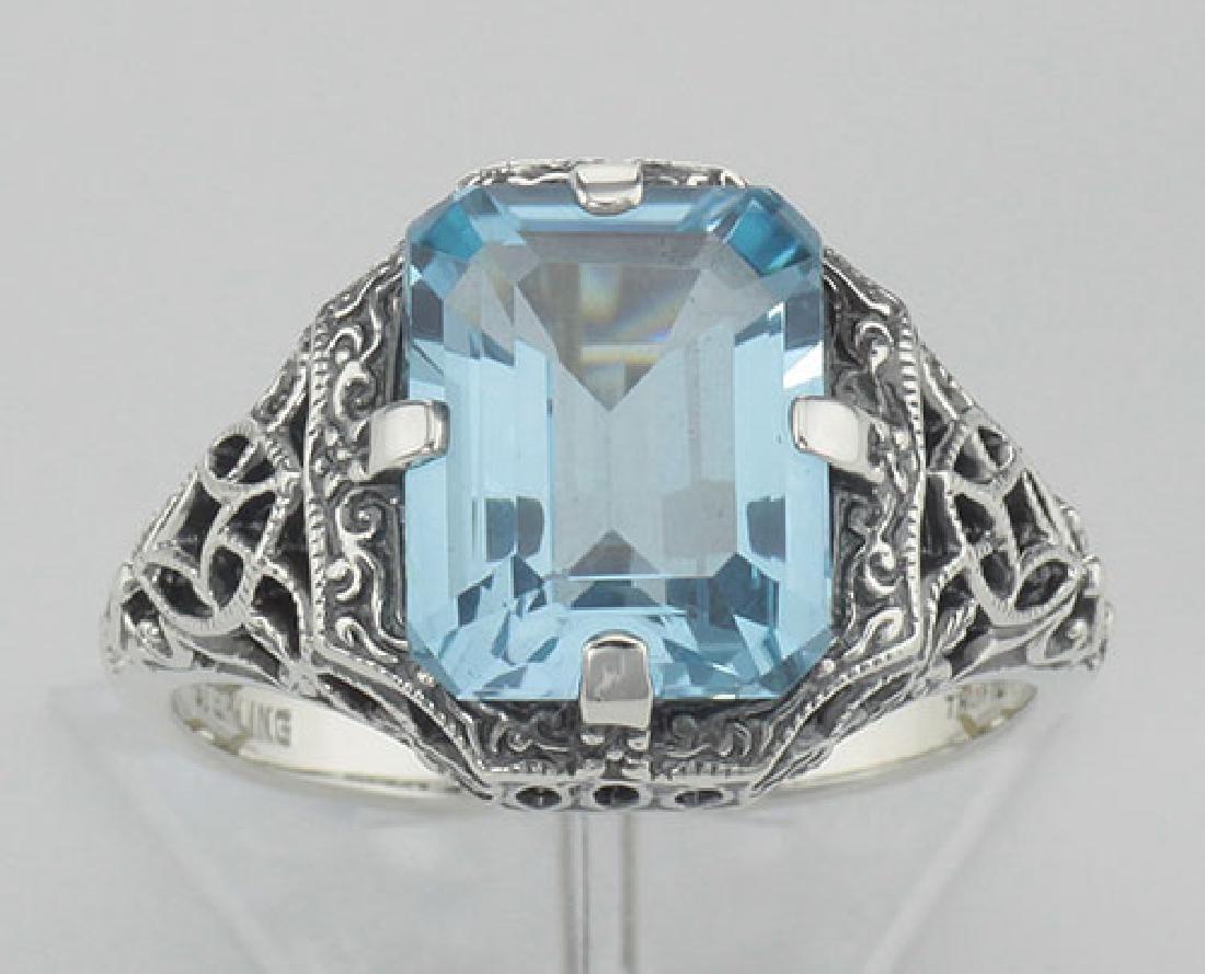 Antique Style 2 1/2 Carat Blue Topaz Filigree Ring - St - 2