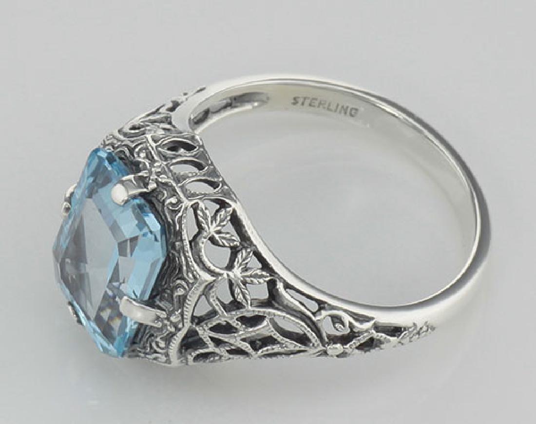 Antique Style 2 1/2 Carat Blue Topaz Filigree Ring - St - 3