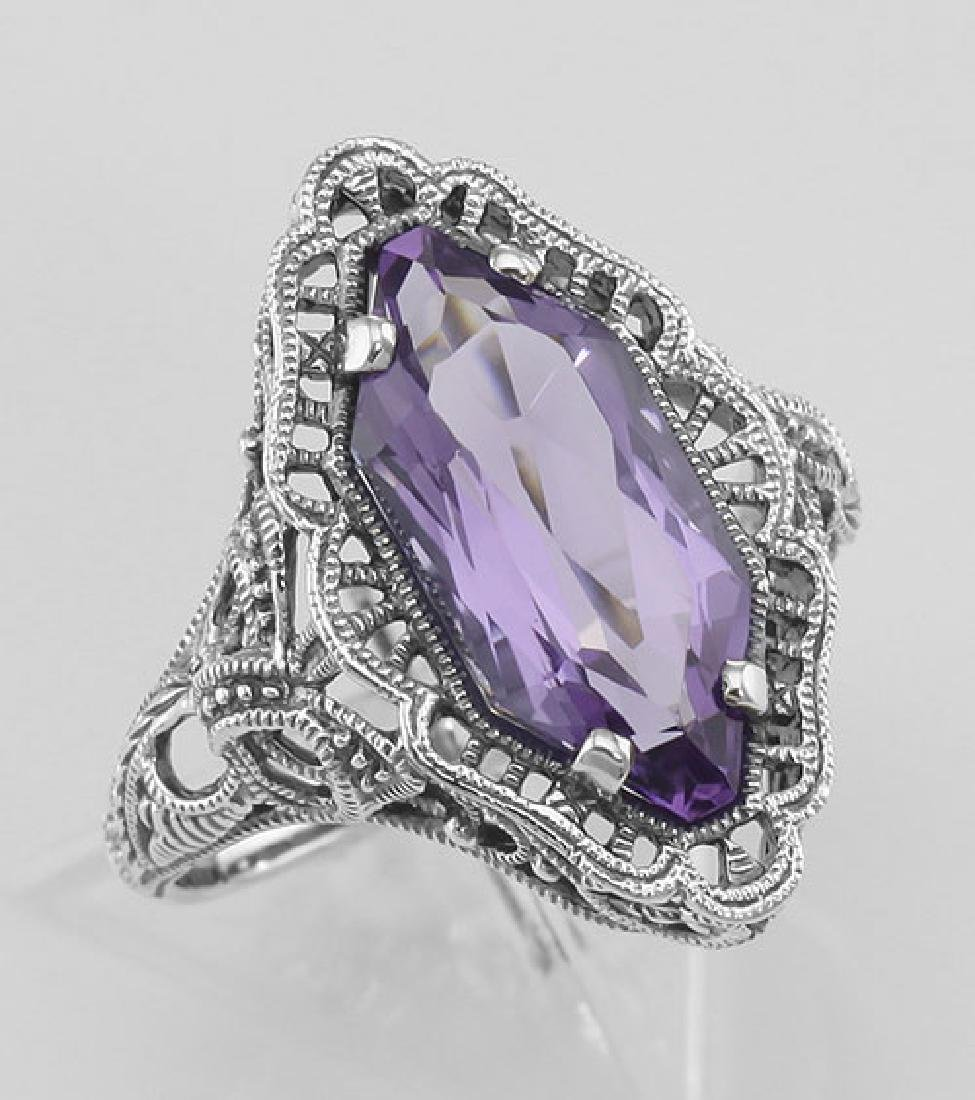 Art Deco Style 4 Carat Amethyst Filigree Ring - Sterlin