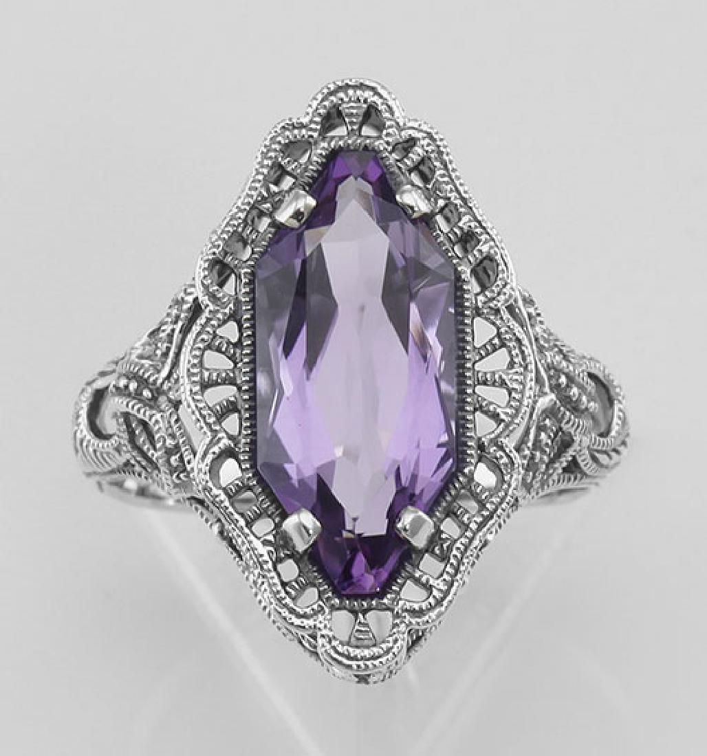 Art Deco Style 4 Carat Amethyst Filigree Ring - Sterlin - 2