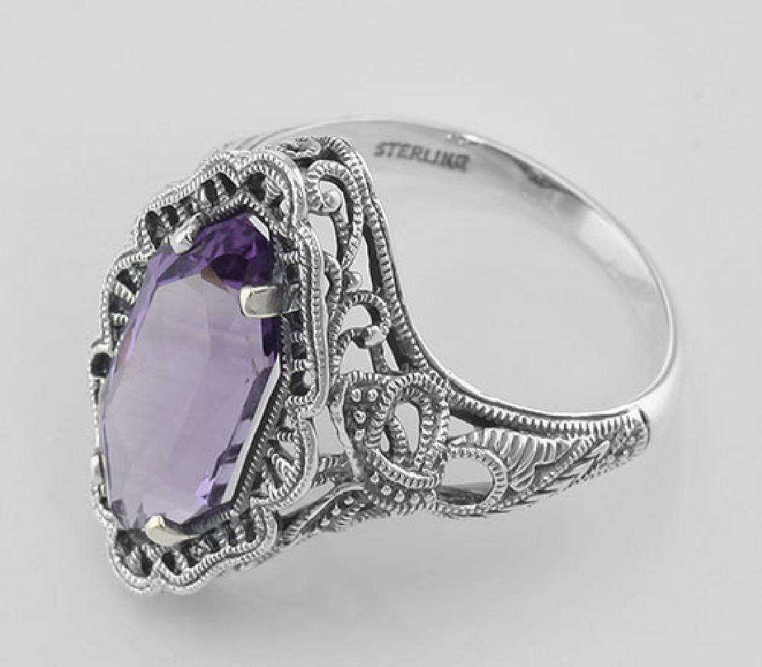 Art Deco Style 4 Carat Amethyst Filigree Ring - Sterlin - 3