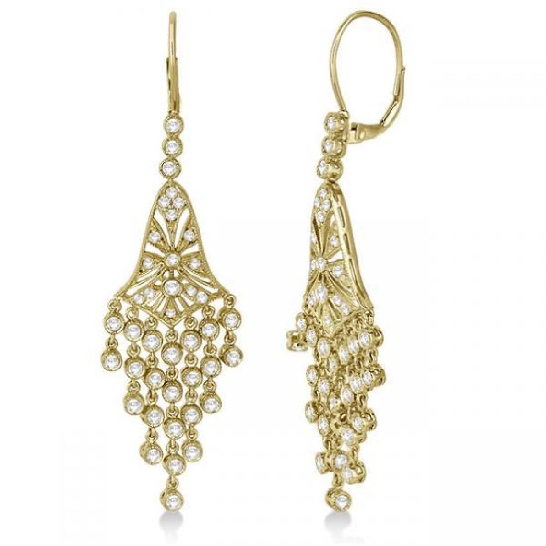 Bezel-Set Dangling Chandelier Diamond Earrings 14K Yell