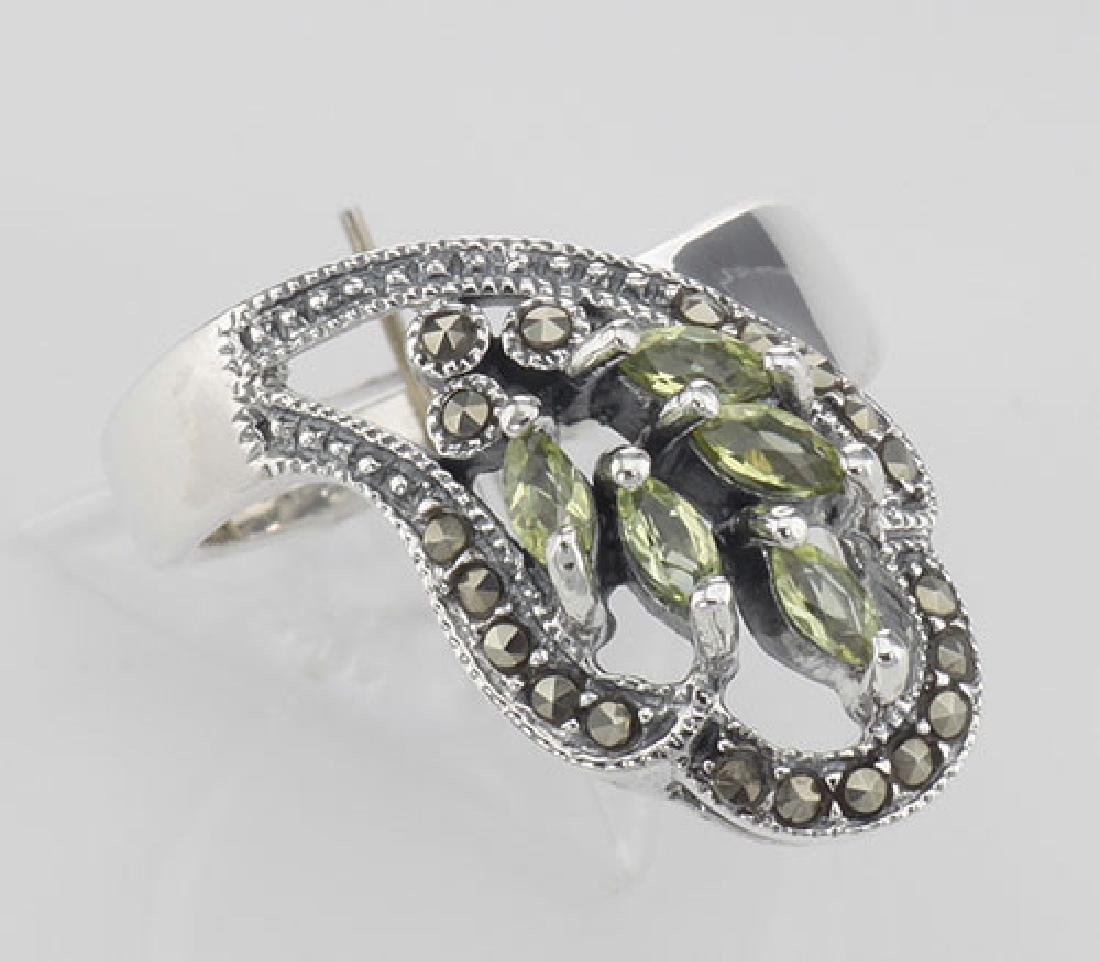 Antique Style Genuine Peridot Ring Marcasite Accents -
