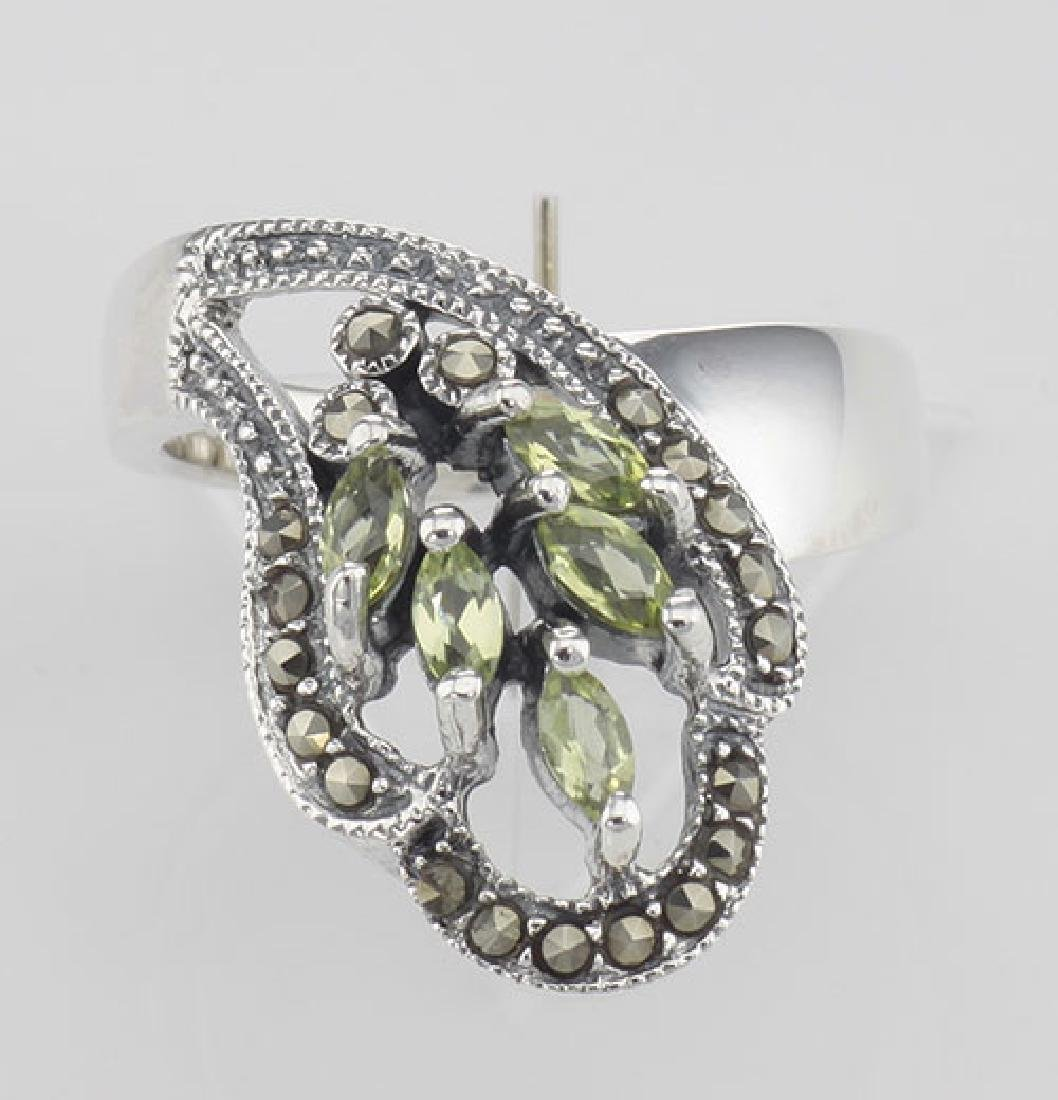 Antique Style Genuine Peridot Ring Marcasite Accents - - 2