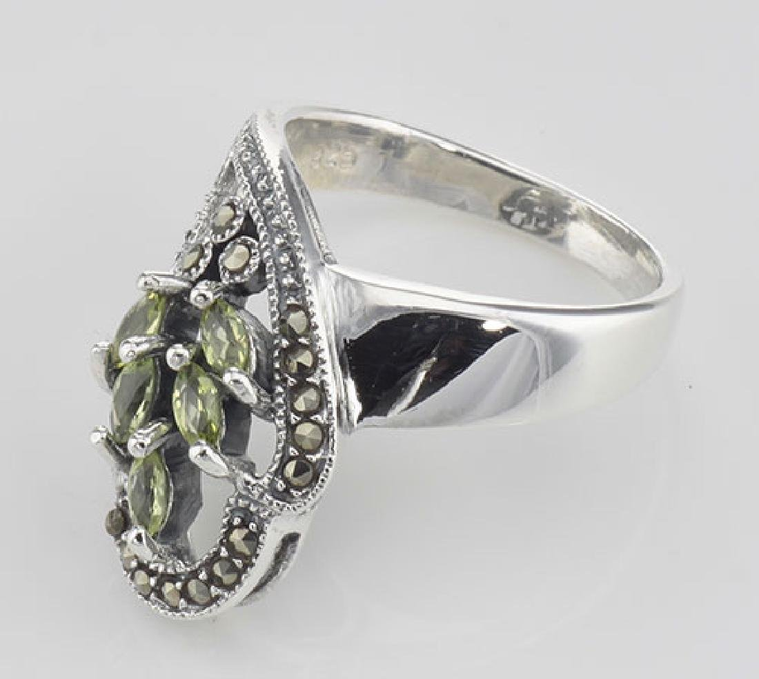 Antique Style Genuine Peridot Ring Marcasite Accents - - 3