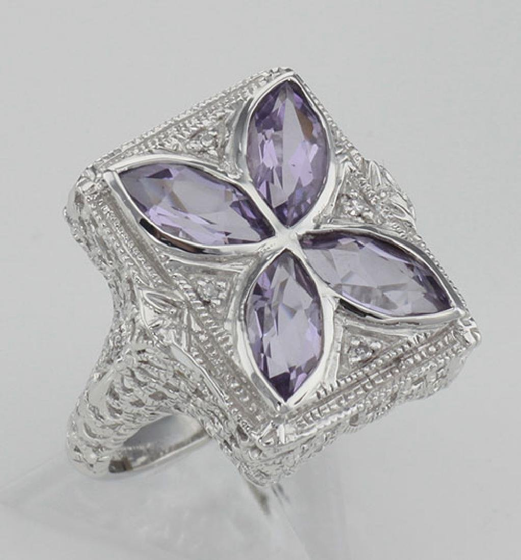 Art Deco Style Filigree Ring w/ amethyst & diamond - St