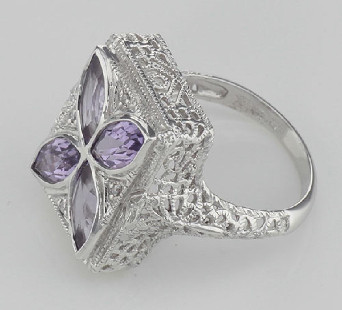 Art Deco Style Filigree Ring w/ amethyst & diamond - St - 3