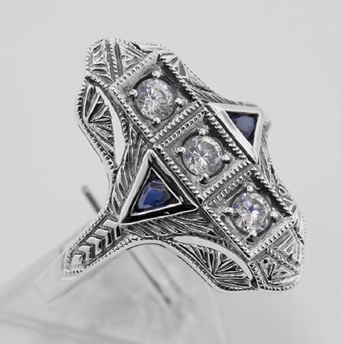 Filigree Ring w/ Sapphire / Crystals - Sterling Silver