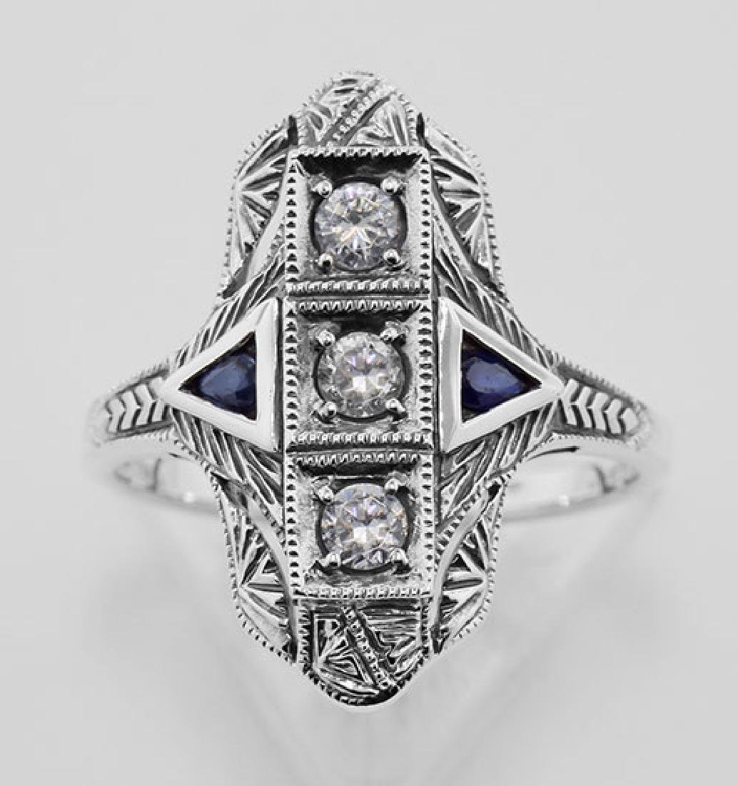 Filigree Ring w/ Sapphire / Crystals - Sterling Silver - 2